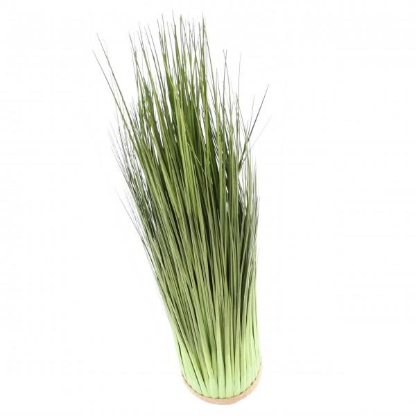 Dekorative Kunstpflanze - Künstliches Grasarrangement auf rundem Sockel mit Bastband in grün 114 cm