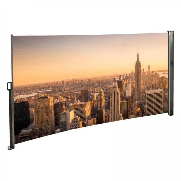 Seitenmarkise mit Foto Skyline - Windschutz / Sichtschutz / Seitenrollo 160 x 300 cm