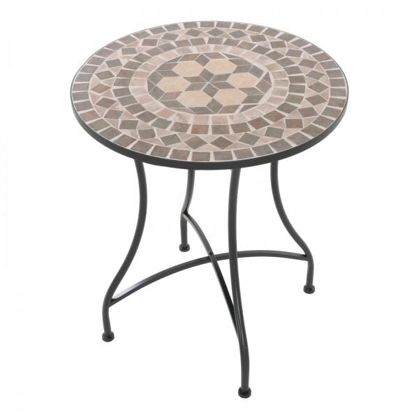 Raburg Mosaiktisch MAYLA in BRAUN/BEIGE/BUNT - Gartentisch, rund, 60cm ø | Unikat mit Muster
