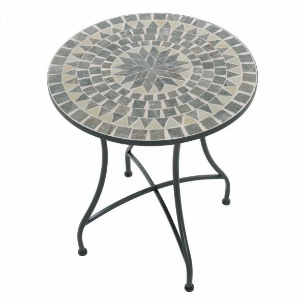Raburg Mosaiktisch MAYLA in BLAU/GRAU/MINT - Gartentisch, rund, 60cm ø | Unikat mit Muster