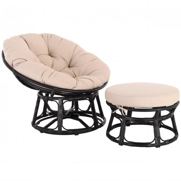 Raburg Gartensessel Set Almeria XXL - runder Relaxsessel + Hocker, Polyrattan SCHWARZ mit Sitzkissen
