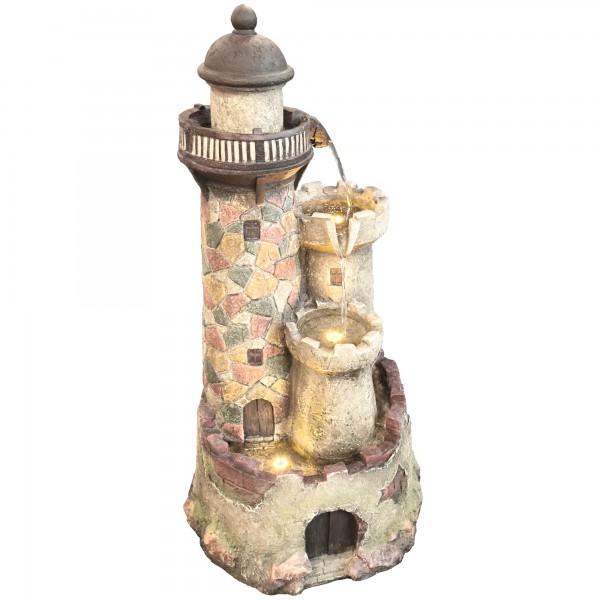 Raburg Gartenbrunnen Leuchtturm XXL - Dekobrunnen mit warmweißer LED Beleuchtung, ca. 110x57x49 cm
