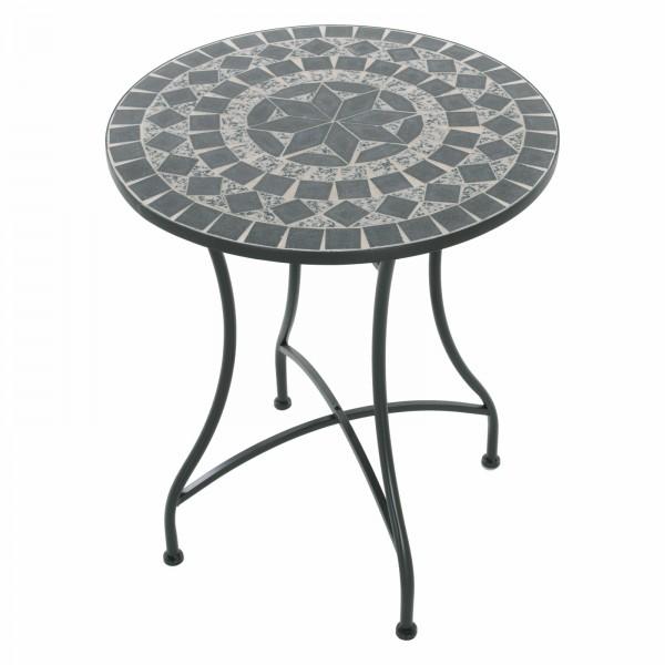 Raburg Mosaiktisch MAYLA in SCHIEFER/GRAU/MELIERT - Gartentisch, rund, 60cm ø | Unikat mit Muster