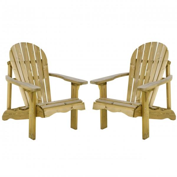 Raburg 2er Set Adirondack Gartensessel/Gartenstuhl Canadian Jumbo Deck Chair Kiefernholz in natur