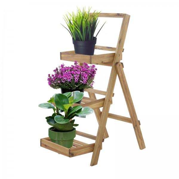 Pflanzregal Blumentreppe XL Akazienholz natur 3 Ablagen 105x45x75cm HxBxT