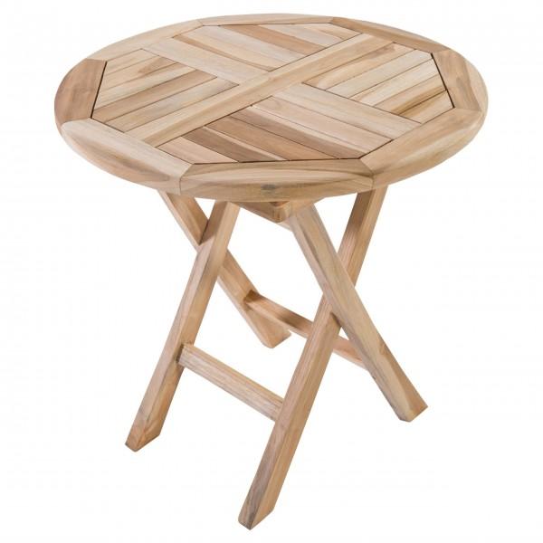 Raburg Beistelltisch Teak Holz rund - Holztisch ca. 50x50 cm, Gartentisch