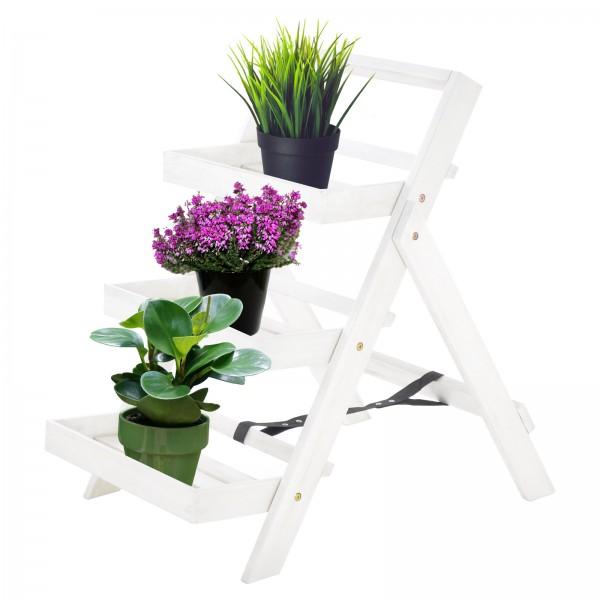 Pflanzregal Blumentreppe L Akazienholz weiß 3 Ablagen 80x54x75cm HxBxT