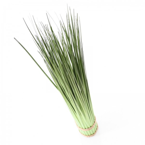 Dekorative Kunstpflanze - Künstliches Grasarrangement auf rundem Sockel mit Bastbändern grün 73 cm