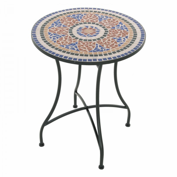 Raburg Mosaiktisch MAYLA in ORANGE/TERRAKOTTA/BLAU - Gartentisch, rund, 60cm ø | Unikat mit Muster