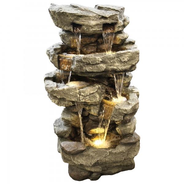 Gartenbrunnen Wasserfall XXL - Dekobrunnen mit warmweißer LED Beleuchtung, ca. 96 x 50 x 38 cm, grau