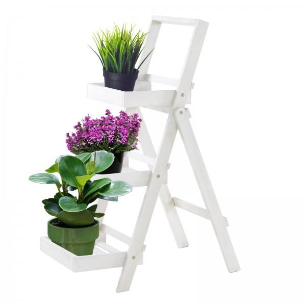 Pflanzregal Blumentreppe XL Akazienholz weiß 3 Ablagen 105x45x75cm HxBxT