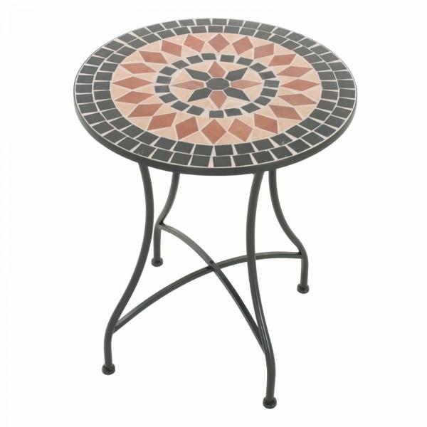 Raburg Mosaiktisch MAYLA in SCHWARZ/BEIGE/TERRAKOTTA - Gartentisch, rund, 60cm ø | Unikat mit Muster